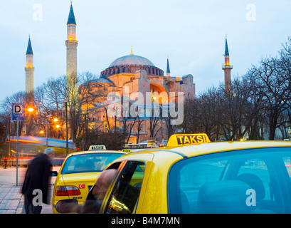 Turkey, Istanbul, Sultanahmet district. Aya Sofya and taxis. - Stock Photo
