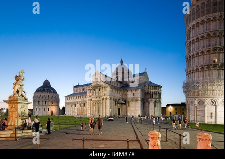 The Duomo, Baptistry and Leaning Tower at dusk, Piazza dei Miracoli, Pisa, Tuscany, Italy - Stock Photo