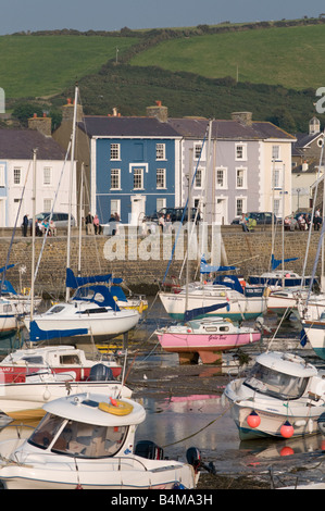 Yachts and boats in the harbour at low tide Aberaeron Ceredigion Wales UK - Stock Photo