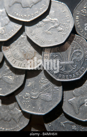 UK coinage 50 pence pieces 50p British currency - Stock Photo