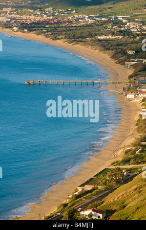 View over beach on Porto Santo the neighbouring island to Madeira - Stock Photo