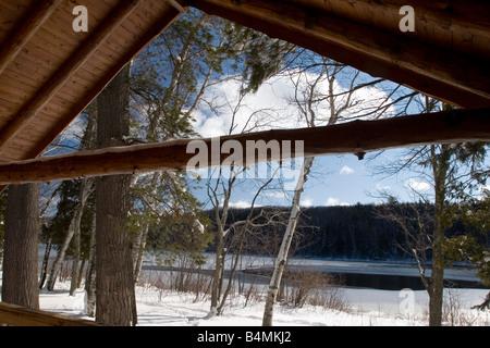 Exterior views of a cabin at Harlow Lake in Michigan s Upper Peninsula - Stock Photo