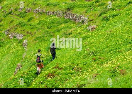 Walkers pass abandoned fields below Pico Branco on Porto Santo the neighbouring island to Madeira - Stock Photo