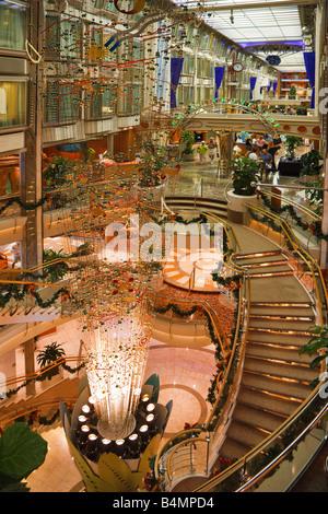 Interior of Royal Caribbean Navigator of the Seas cruise ship near the Royal Promenade - Stock Photo