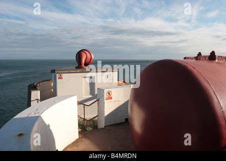 Foghorn and accompanying compressed air tanks at the Mull of Galloway Lighthouse, Dumfries & Galloway. - Stock Photo