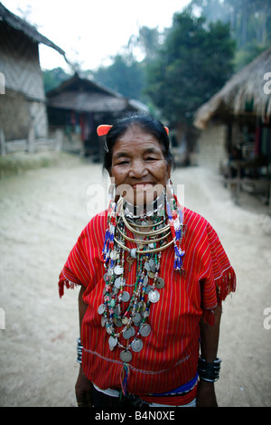 Portrait of an older woman in the Longneck village Approximately 300 Burmese refugees in Thailand are members of - Stock Photo