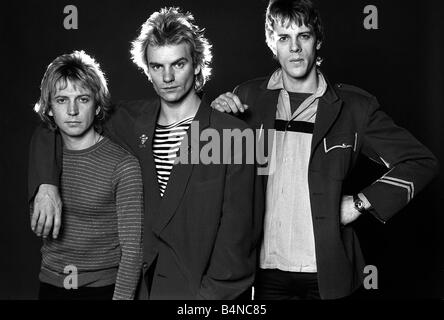Pop group The police in studio 1980 Sting with Andy Summers and Stewart Copeland - Stock Photo