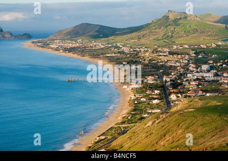 View over beach on Porto Santo the neighbouring island to Madeira - Stock Photo