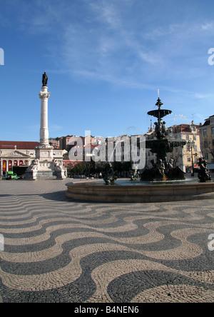 View from Praca Dom Pedro IV Rossio toward Teatro Nacional de Dona Maria II - Stock Photo