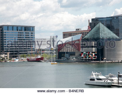The National Aquarium, the Lightship Chesapeake, the submarine USS Torsk, and other attractions ring Baltimore's - Stock Photo