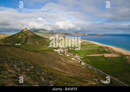 View over Porto Santo the neighbouring island to Madeira - Stock Photo