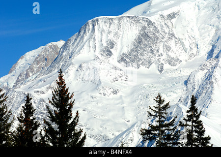 Steep face at the Aiguille du Gouter in the Mont Blanc massif, St Gervais Mont Blanc, Haute Savoie, France - Stock Photo