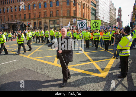 Police and Anti-War Protestors at Labour Party Conference Manchester Lancashire England UK United Kingdom GB Great - Stock Photo