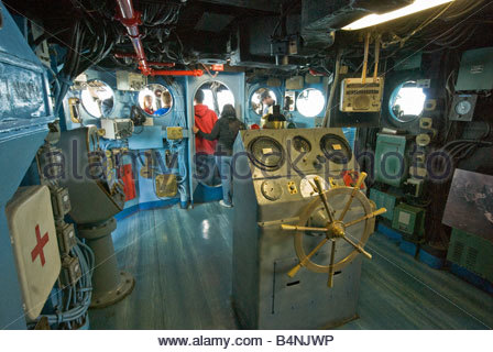Bridge interior at USS Midway aircraft carrier museum ship in San Diego California USA - Stock Photo
