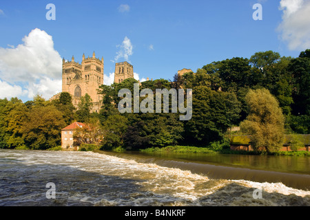 Durham Cathedral and River Wear Tyne and Wear England UK - Stock Photo
