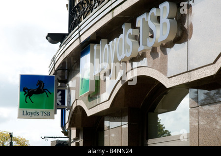 lloyds tsb bank high street bank black horse investments banking system uk banker bail out bailed out money branch - Stock Photo