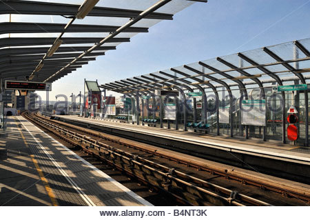 The Gallions Reach DLR station at Beckton East London - Stock Photo
