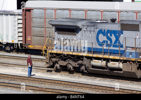 CSX freight train locomotive and freight cars Stock Photo ...