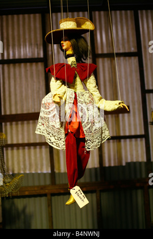 A beautiful puppet hangs amongst chandeliers for sale in a second hand store - Stock Photo