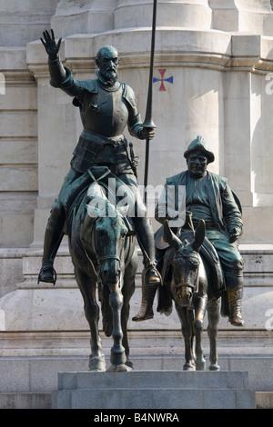 Statue of Don Quixote and Sancho Panza in Madrid - Stock Photo