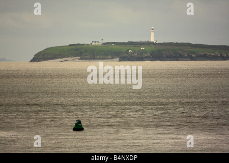 Flat Holm island viewed from the Cardiff Bay Barrage, Wales, U.K. - Stock Photo