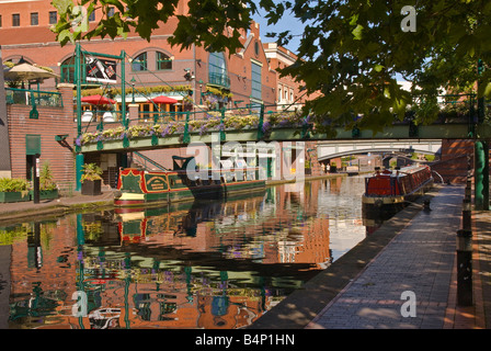 The canal in Brindley Place Birmingham UK - Stock Photo