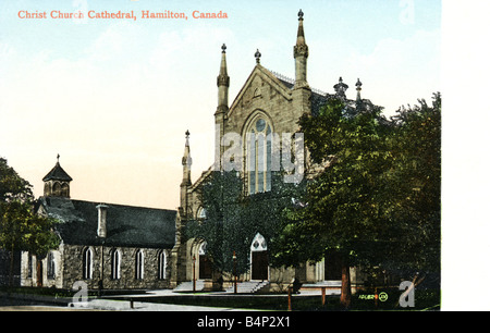 Old vintage Topographical Canadian Picture Postcard of Christ's Church Cathedral Hamilton Canada 1900s FOR EDITORIAL - Stock Photo