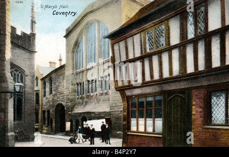 Old vintage Topographical British Picture Postcard of St Mary's Hall Coventry posted December 1903 FOR EDITORIAL - Stock Photo