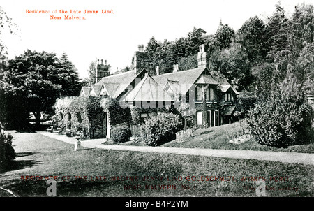 Old Topographical British Picture Postcard of Jenny Lind's house Wynd's Point near Malvern posted 1906  FOR EDITORIAL - Stock Photo