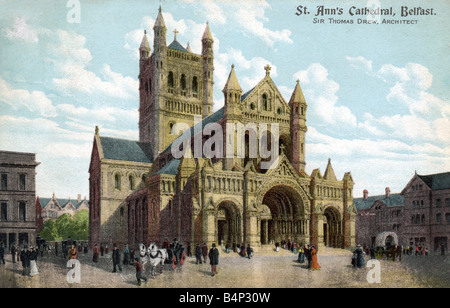 Old vintage British  Topographical Picture Postcard of St Ann's Cathedral Belfast posted 1904  FOR EDITORIAL USE - Stock Photo