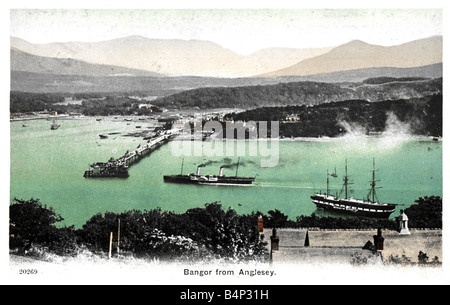 1908 dated old vintage British Topographical  Picture Postcard of Bangor from Anglesey North Wales 1900s FOR EDITORIAL - Stock Photo