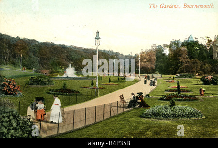 Old vintage British  Topographical Picture Postcard of the Gardens Bournemouth posted April 1910 FOR EDITORIAL USE - Stock Photo