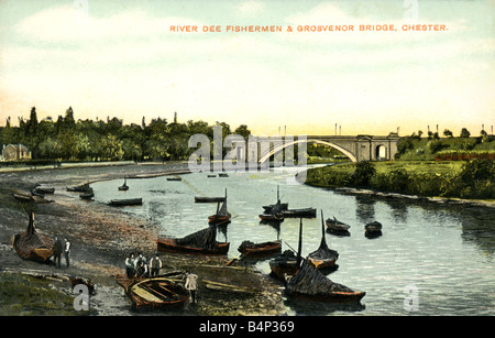 Old vintage British  Topographical Picture Postcard of The River Dee Chester  FOR EDITORIAL USE ONLY - Stock Photo