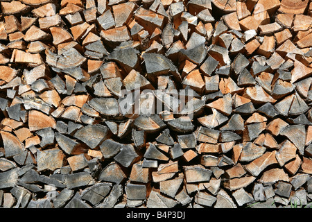 AUT, Austria, Stubai Valley, pile of fire wood, - Stock Photo