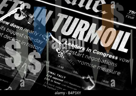 Markets In Turmoil - stock market headlines - Stock Photo