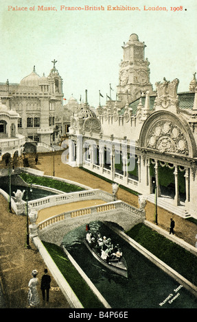 Old vintage British Topographical Commemorative  Picture Postcard of the Franco-British Exhibition 1908 FOR EDITORIAL - Stock Photo