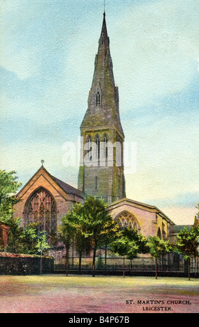 Old vintage British  Topographical Picture Postcard of St Martin's Church Leicester posted 1907 FOR EDITORIAL USE - Stock Photo