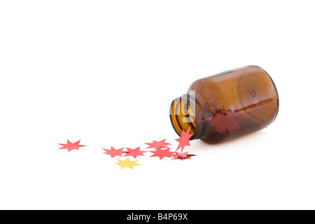 Brown bottle and stars - Stock Photo