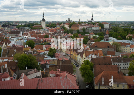 General view of Tallinn old town from the steeple of St. Olav's church, Tallinn, Estonia - Stock Photo