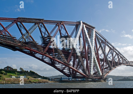 Rail Bridge over the Firth of Forth at North Queensferry in the Kingdom of Fife - Stock Photo