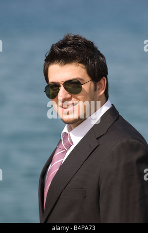 Happy business man outdoors - Stock Photo