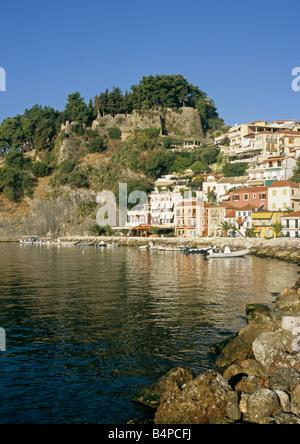 town of Parga on the Ionian coast of Epiros region Greece - Stock Photo