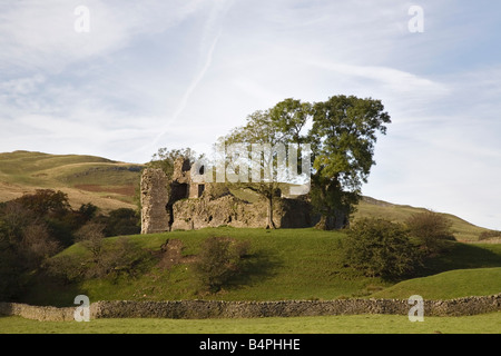 Pendragon Castle ruins of 12th century Norman fortification. Mallerstang Kirkby Stephen Upper Eden Valley Cumbria - Stock Photo