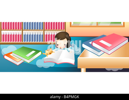 Representation of a girl reading book in library - Stock Photo
