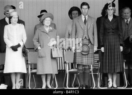 The Royals The Windsors September 1987 Prince Charles Princess Diana and The Queen Mum at the Braemar for the Highland - Stock Photo