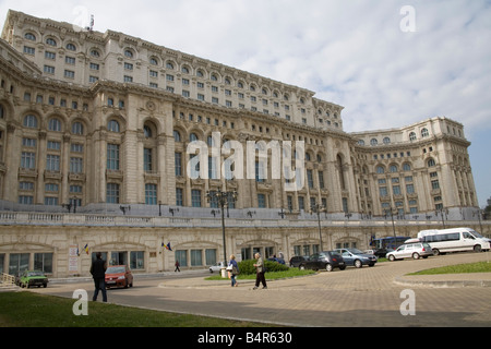 Bucharest Romania Europe EU Casa Poporului House of the People started by Nicholae Ceausescu in 1984  most expensive - Stock Photo