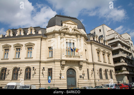 Bucharest Romania Europe EU The Central University Library is a rich neo baroque building designed by French architect - Stock Photo