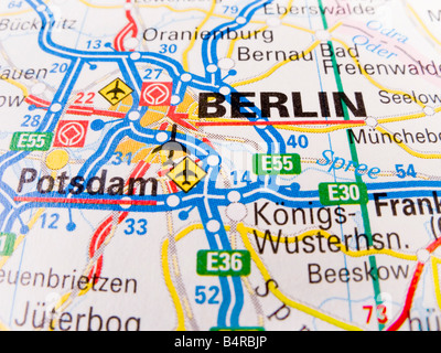Close up of a road map of Berlin - Stock Photo