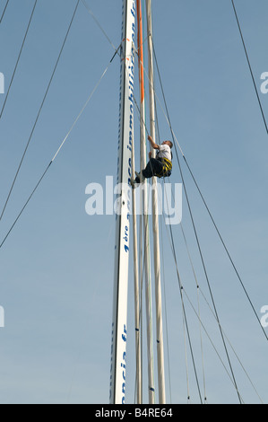 A french sailor climbing the main mast preparing for the Artemis Transat 2008. - Stock Photo