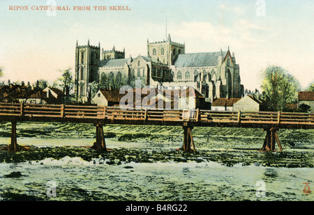 Old vintage British Picture Topographical  Postcard of Ripon Cathedral from The Skell Yorkshire 1900s FOR EDITORIAL - Stock Photo